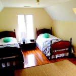 Twin beds at the house at Gaie Lea