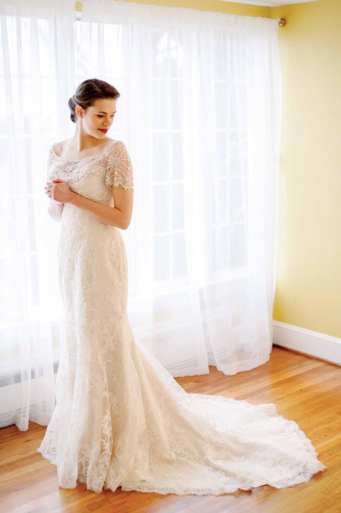 A bride in her dress