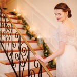 Bride walking up the stairs.
